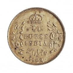 India Britanica ¼ Rupia. 1908. C-(Calcuta). AG. 2,92gr. Ley:0,917. Ø19mm. SC/SC-. KM. 506