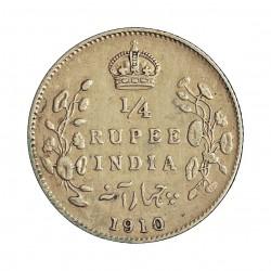 India Britanica ¼ Rupia. 1910. C-(Calcuta). AG. 2,92gr. Ley:0,917. Ø19mm. MBC+/EBC-. KM. 506
