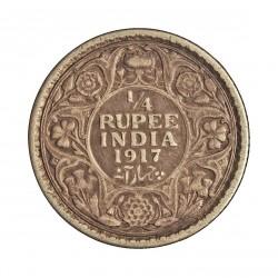 India Britanica ¼ Rupia. 1917. C-(Calcuta). AG. 2,92gr. Ley:0,917. Ø19mm. MBC. KM. 518