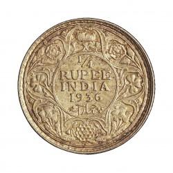 India Britanica ¼ Rupia. 1936. C-(Calcuta). AG. 2,92gr. Ley:0,917. Ø19mm. SC-/SC. KM. 518
