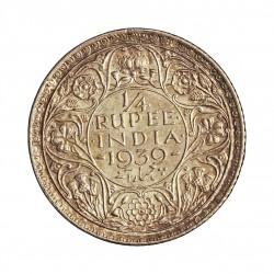 India Britanica ¼ Rupia. 1939. AG. 2,92gr. Ley:0,917. Ø19mm. EBC+. KM. 544