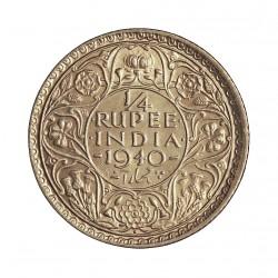 India Britanica ¼ Rupia. 1940. AG. 2,92gr. Ley:0,917. Ø19mm. SC-/SC. KM. 544a/545