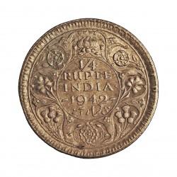 India Britanica ¼ Rupia. 1942. (C)-(Calcuta). AG. 2,92gr. Ley:0,500. Ø19mm. EBC+/SC-. KM. 546