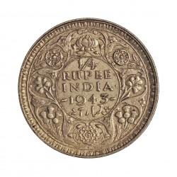 India Britanica ¼ Rupia. 1943. (C)-(Calcuta). AG. 2,92gr. Ley:0,500. Ø19mm. EBC+. KM. 546