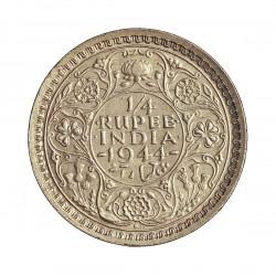 India Britanica ¼ Rupia. 1944. B-(Bombay). AG. 2,9gr. Ley:0,500. Ø19mm. EBC+/SC-. KM. 547