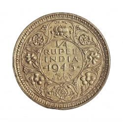 India Britanica ¼ Rupia. 1945. B-(Bombay). AG. 2,9gr. Ley:0,500. Ø19mm. EBC+/SC-