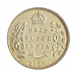 India Britanica ½ Rupia. 1907. C-(Calcuta). AG. 5,83gr. Ley:0,917. Ø25mm. EBC+/SC-. KM. 507