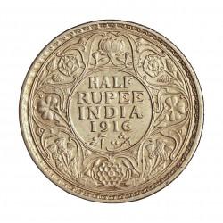 India Britanica ½ Rupia. 1916. C-(Calcuta). AG. 5,83gr. Ley:0,917. Ø25mm. EBC+. KM. 522