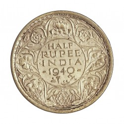 India Britanica ½ Rupia. 1940. C-(Calcuta). AG. 5,83gr. Ley:0,500. Ø25mm. EBC/EBC+. KM. 550 a