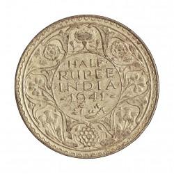 India Britanica ½ Rupia. 1941. AG. 5,84gr. Ley:0,500. Ø25mm. MBC+/EBC-. KM. 551