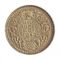 India Britanica ½ Rupia. 1943. AG. 5,84gr. Ley:0,500. Ø25mm. SC-/SC. KM. 552