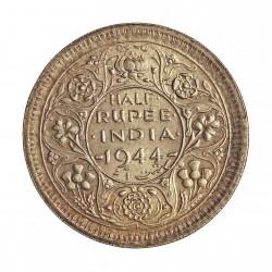 India Britanica ½ Rupia. 1944. AG. 5,84gr. Ley:0,500. Ø25mm. SC-/SC. KM. 552