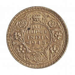 India Britanica ½ Rupia. 1945. AG. 5,84gr. Ley:0,500. Ø25mm. SC-/SC. KM. 552