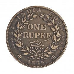 India Britanica 1 Rupia. 1835. C-(Calcuta). AG. 11,66gr. Ley:0,916. Ø30mm. MBC/MBC+. KM. 450.1