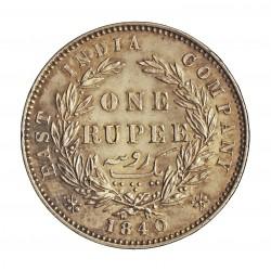 India Britanica 1 Rupia. 1840. AG. 2gr. Ley:0,916. Ø30mm. EBC+/SC-. KM. 458.1-10