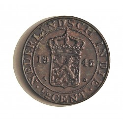 India Holandesa ½ Cent. 1945. P. AE. 2,22gr. Ø17mm. SC. (Tono). KM. 314.2