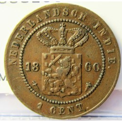 India Holandesa 1 Cent. 1860. Utrech. AE. 4,8gr. Ø23mm. MBC+. KM. 307.2