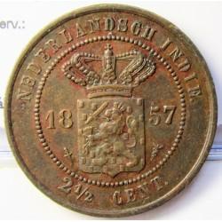 India Holandesa 2,5 Cent. 1857. AE. 12,36gr. Ø31mm. EBC+/SC-. (Lev.oxid..Patina). MUY ESCASO/A. en esta conservacion. KM. 308