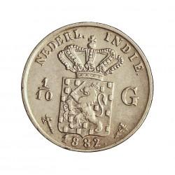 India Holandesa 0,1 Gulden. 1882. AG. 1,25gr. Ley:0,720. (1/10 de Gulden). Ø15mm. MBC/MBC+. KM. 304