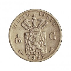 India Holandesa 0,1 Gulden. 1884. AG. 1,25gr. Ley:0,720. (1/10 de Gulden). Ø15mm. MBC/MBC+. KM. 304