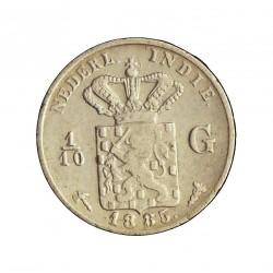 India Holandesa 0,1 Gulden. 1885. AG. 1,25gr. Ley:0,720. (1/10 de Gulden). Ø15mm. MBC. RARO/A. KM. 304