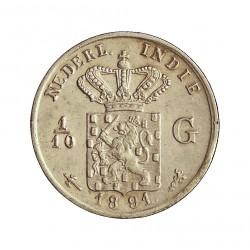 India Holandesa 0,1 Gulden. 1891. AG. 1,25gr. Ley:0,720. (1/10 de Gulden). Ø15mm. EBC. KM. 304