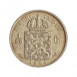 India Holandesa 0,1 Gulden. 1904. AG. 1,25gr. Ley:0,720. (1/10 de Gulden). Ø15mm. MBC+/EBC-. KM. 309