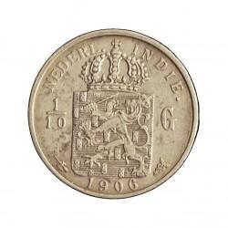 India Holandesa 0,1 Gulden. 1906. AG. 1,25gr. Ley:0,720. (1/10 de Gulden). Ø15mm. MBC/MBC+. KM. 309