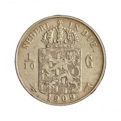 India Holandesa 0,1 Gulden. 1909. AG. 1,25gr. Ley:0,720. (1/10 de Gulden). Ø15mm. MBC+. KM. 309