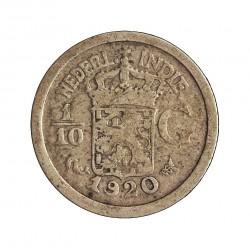 India Holandesa 0,1 Gulden. 1920. AG. 1,25gr. Ley:0,720. (1/10 de Gulden). Ø15mm. MBC. KM. 309