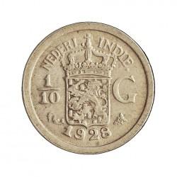 India Holandesa 0,1 Gulden. 1928. AG. 1,25gr. Ley:0,720. (1/10 de Gulden). Ø15mm. MBC+/EBC-. KM. 309