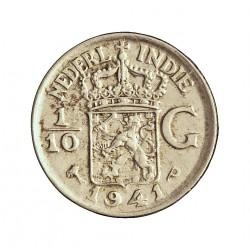 India Holandesa 0,1 Gulden. 1941. (1/10). P-(Filadelfia). AG. 1,25gr. Ley:0,720. Ø15mm. SC. KM. 318