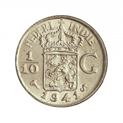 India Holandesa 0,1 Gulden. 1941. (1/10). S-(St.Francisco). AG. 1,25gr. Ley:0,720. Ø15mm. SC. KM. 318
