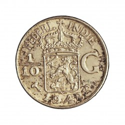 India Holandesa 0,1 Gulden. 1942. (1/10). S-(St.Francisco). AG. 1,25gr. Ley:0,720. Ø15mm. SC-/SC. KM. 318