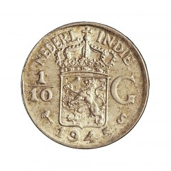 India Holandesa 0,1 Gulden. 1945. (1/10). S-(St.Francisco). AG. 1,25gr. Ley:0,720. Ø15mm. SC. KM. 318