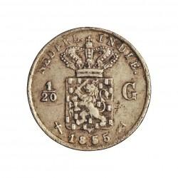 India Holandesa 0,2 Gulden. 1855. AG. 0,61gr. Ley:0,720. (1/20 de Gulden). Ø12,5mm. MBC. KM. 303