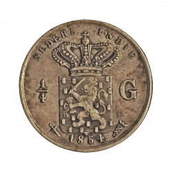 India Holandesa ¼ Gulden. 1854. AG. 3,18gr. Ley:0,568. Ø19mm. MBC+/EBC-. KM. 305