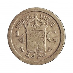 India Holandesa ¼ Gulden. 1920. AG. 3,18gr. Ley:0,720. Ø19mm. MBC-. KM. 312