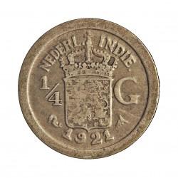 India Holandesa ¼ Gulden. 1921. AG. 3,18gr. Ley:0,720. Ø19mm. MBC-/MBC. KM. 312