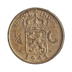 India Holandesa ¼ Gulden. 1941. P-(Filadelfia). AG. 3,18gr. Ley:0,720. Ø19mm. EBC+/SC-. KM. 319