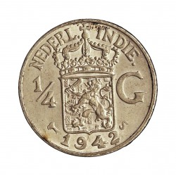 India Holandesa ¼ Gulden. 1942. S-(St.Francisco). AG. 3,18gr. Ley:0,720. Ø19mm. SC-/SC. KM. 319