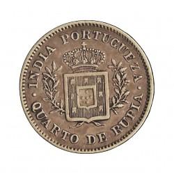 India Portuguesa ¼ Rupia. 1881. AG. 2,92gr. Ley:0,917. Ø19mm. EBC/EBC+. KM. 310