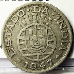 India Portuguesa ½ Rupia. 1947. CUNI. 5,4gr. Ø24mm. MBC. MUY ESCASO/A. KM. 26