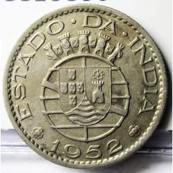 India Portuguesa ½ Rupia. 1952. CUNI. 5,4gr. Ø24mm. MBC. KM. 26