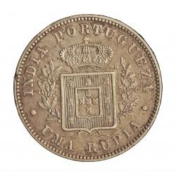 India Portuguesa 1 Rupia. 1882. AG. 11,66gr. Ley:0,917. Ø30mm. MBC+/EBC-. KM. 312