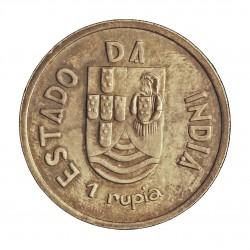 India Portuguesa 1 Rupia. 1935. AG. 12gr. Ø30mm. SC-/SC. (Patina). KM. 22