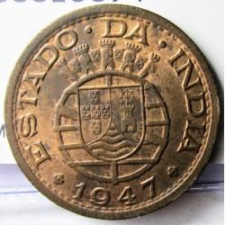 India Portuguesa 1 Tanga. 1947. AE. 6gr. Ley:0,000. Ø25mm. SC-. (Parte de su tono original). KM. 24