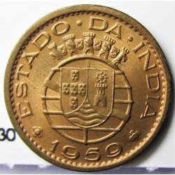 India Portuguesa 10 Ctvo. 1959. AE. 2gr. Ley:0,000. Ø18mm. SC. (Tono original). KM. 30
