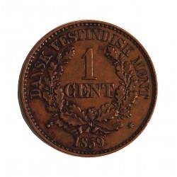 India del Oeste-(Dinamarca) 1 Cent. 1859. (o). CU. 4,8gr. Ø21mm. SC-/SC. (Lev.suciedad.Lev.patina). RARO/A. en esta conservacon