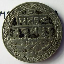 India-(Princ./Est.) 0,06 Rupia. 1928. (VS1985). (MEWAR). (Fatteh Singh). AG. 0,95gr. Ley:0,900. (1/16 de rupia). Ø12mm. EBC/EBC